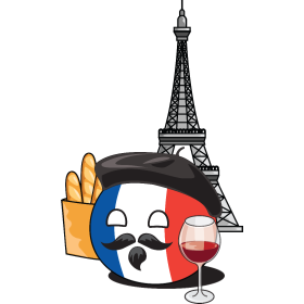 It's a French NationBall (a.k.a. Countryball or Polandball) shopping for groceries!