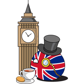 It's a British NationBall (a.k.a. Countryball or Polandball) having some tea!